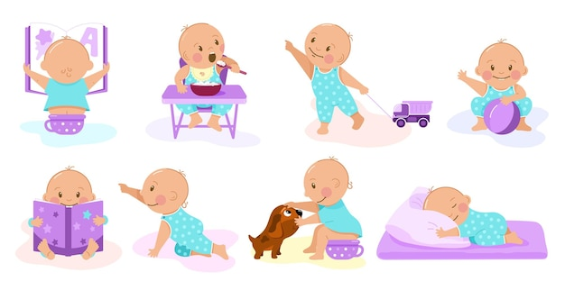 鍋に座ってお粥を食べて本を読んで寝ている素敵な赤ちゃんの8つの状況