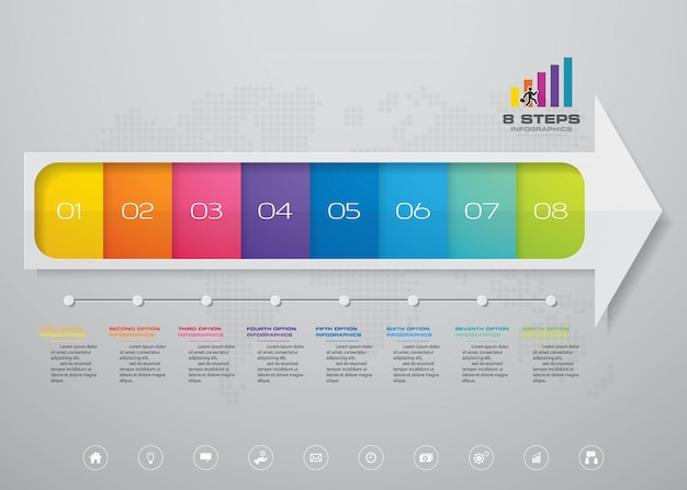 プレゼンテーションのための8段階の矢印のinfographics要素図。