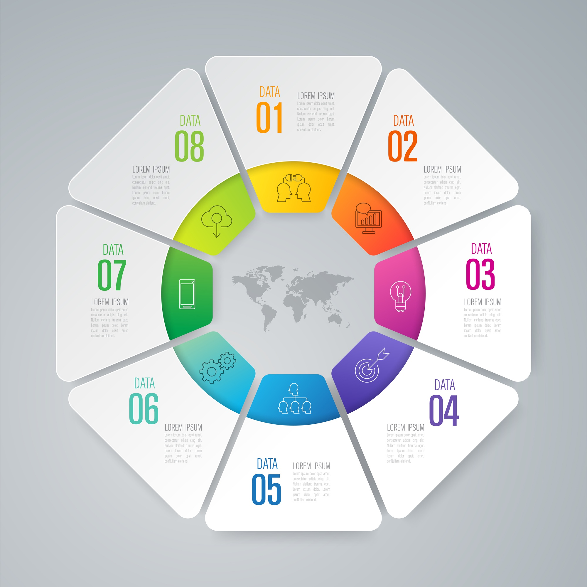 8 steps business infographic elements for the presentation