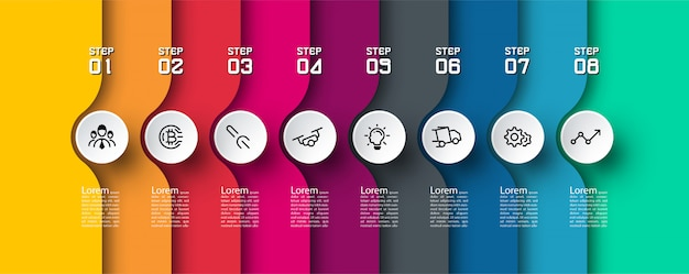 8 steps colorful infographic template.