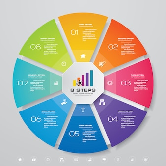 8 steps cycle chart infographics elements. eps 10.