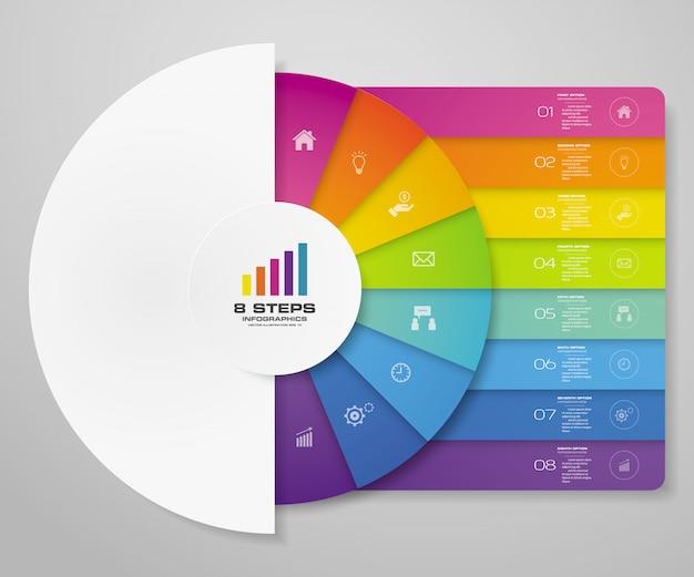 8ステップは、データプレゼンテーションのグラフインフォグラフィック要素をサイクルします。