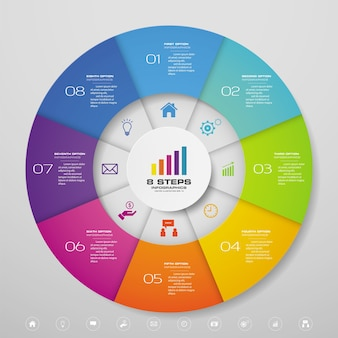 データ表示のための8ステップのサイクルチャートインフォグラフィック要素。