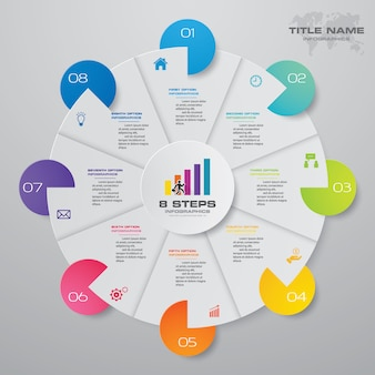 8 steps cycle chart infographics elements.
