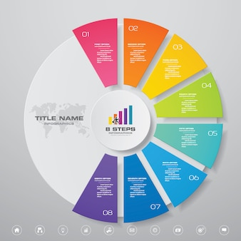 8 steps cycle chart infographics elements