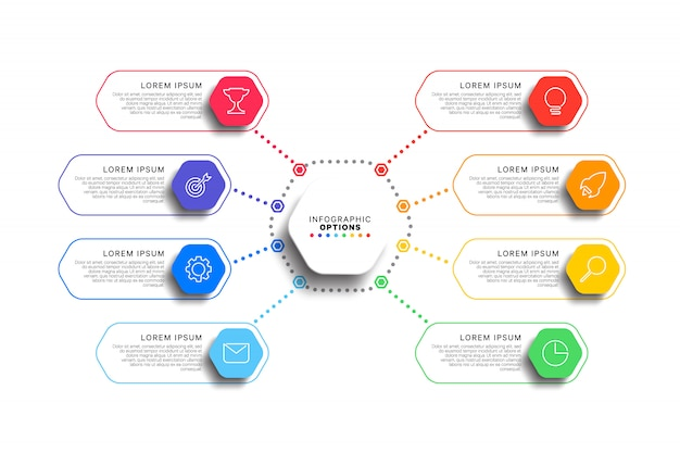 8 steps infographic template with realistic hexagonal elements on white background
