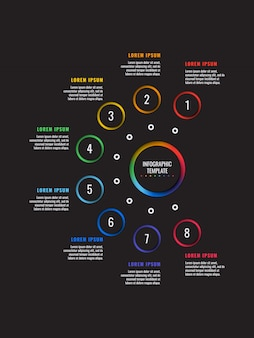 8 steps infographic template with round paper cut elements on black background