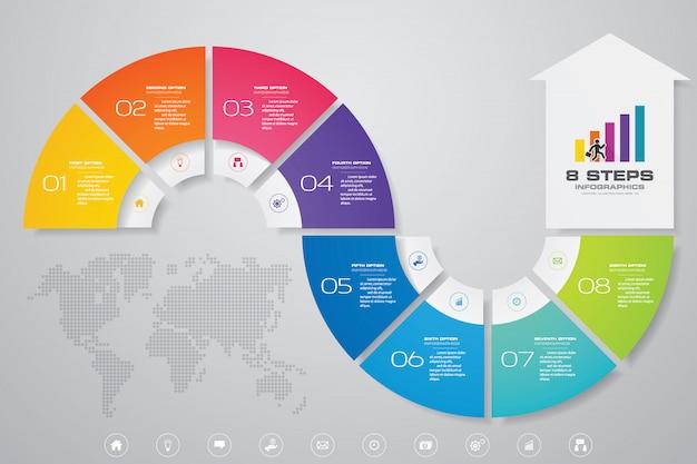 8 steps infographics element arrow template chart.