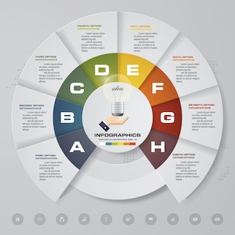 8 steps modern chart infographics elements.