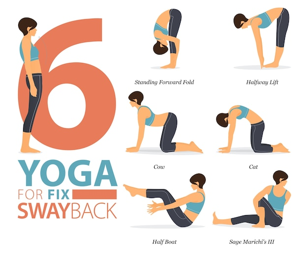 8ヨガのポーズまたはアーサナの姿勢を修正するためのヨガのワークアウト。体のストレッチのために運動している女性。フラット漫画。