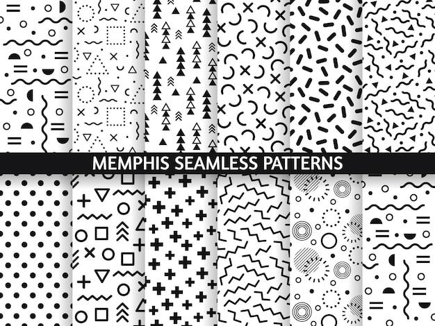 Мемфис бесшовные модели. прикольный узор, ретро мода 80-х и 90-х годов печатает рисунок текстуры. набор текстур в стиле геометрической графики