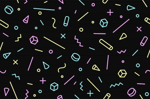 シームレスなグラフィックパターン80年代90年代のトレンディなスタイル