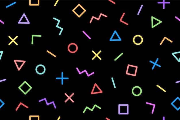 パターン。シームレスなメンフィスの幾何学的なグラフィックパターン80年代90年代のスタイル