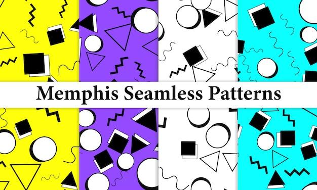メンフィスのシームレスパターンのセットです。楽しい背景。トレンディな色。メンフィススタイルのパターン。図。シームレスパターン。抽象的なカラフルな楽しい背景。 80年代から90年代のヒップスタースタイル。