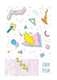 Плакат в стиле мемфис 80-х-90-х годов с геометрическими современными формами.