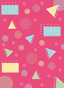 メンフィスの三角形と円の幾何学的な80年代90年代スタイルの抽象
