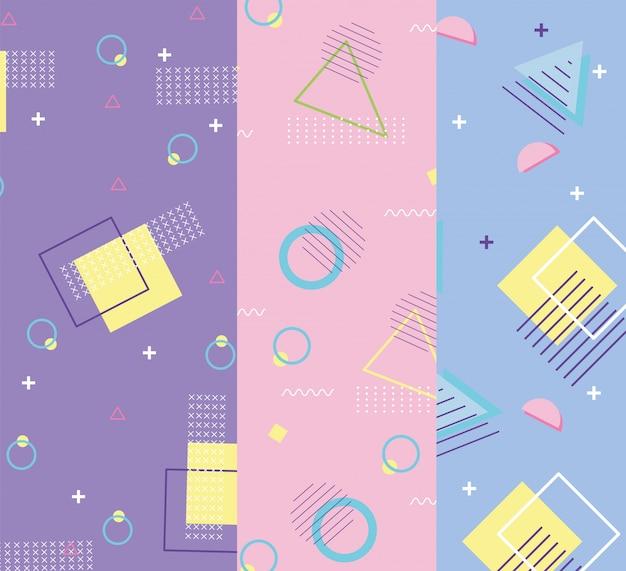 メンフィスの幾何学的なミニマル80年代90年代スタイルのファッション抽象的なバナー