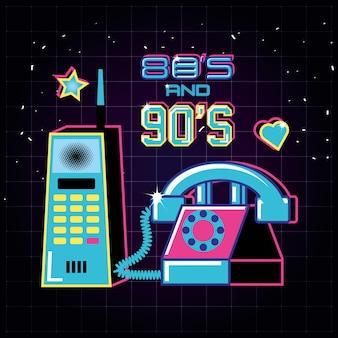 80年代と90年代の携帯電話と電話レトロ