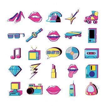 80 и 90 поп-арт набор иконок