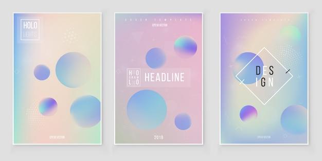 抽象的なホログラフィック虹色カバーセットモダンスタイルトレンド80年代90年代。ホログラフィックホイルベクトル