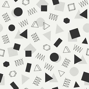 メンフィスのシームレスパターン。 80-90年代抽象的な寄せ集めの質感。