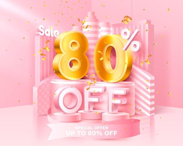 80 оф. дисконтный творческий состав. символ продажи 3d с декоративными предметами, золотым конфетти, подиумом и подарочной коробкой. продажа баннеров и плакатов. векторная иллюстрация.