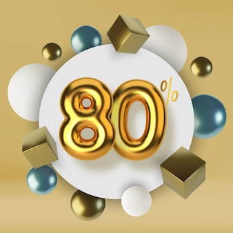 80 off discount promotion sale made of 3d gold text realistic spheres and cubes