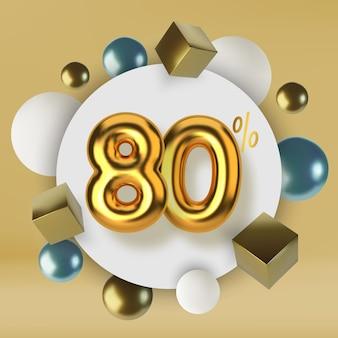 3dゴールドテキストで作られた80オフ割引プロモーションセールリアルな球体と立方体