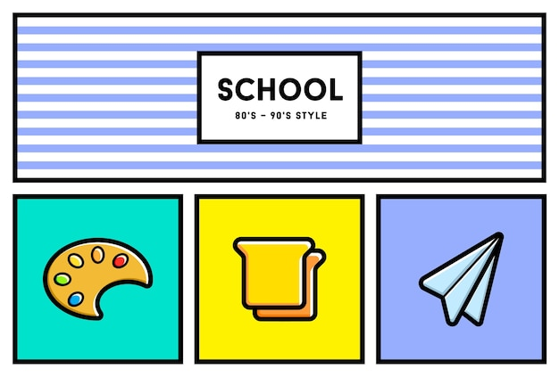 80's or 90's style school education icon set.