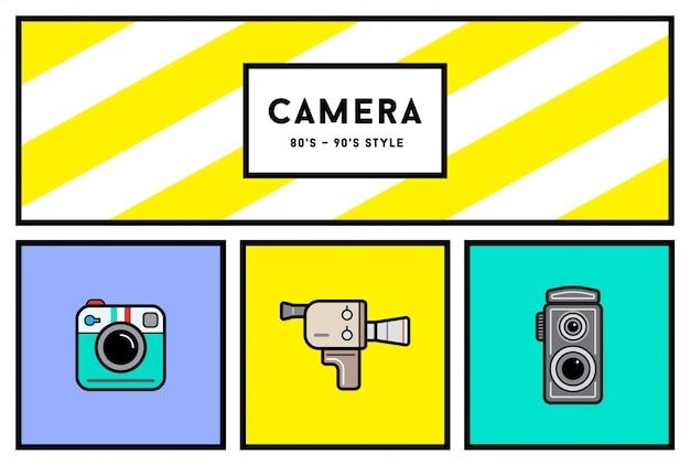 80's or 90's stylish photo camera icon set with retro colors