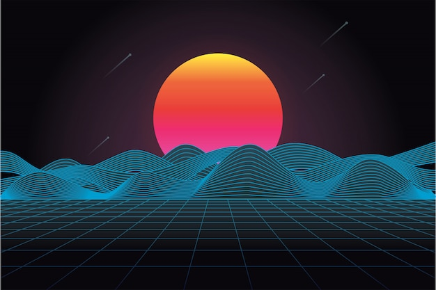 80's futuristic retro landscape with sun and mountain