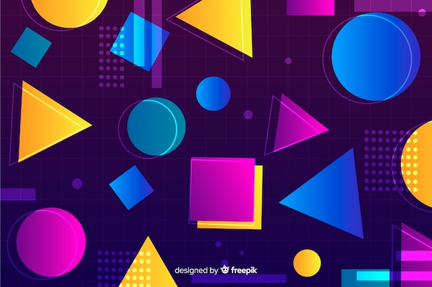 80's geometric colorful decorative background