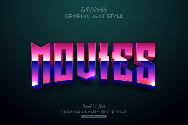 80's movies title editable text style effect