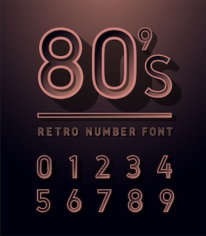 80's Number copper color retro vintage sans serif alphabet