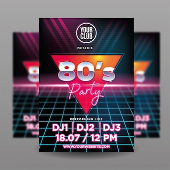 80´s party flyer template
