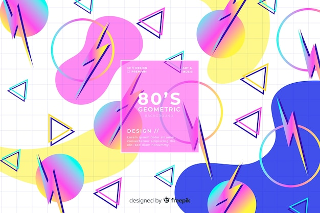 80 style background with geometric shapes
