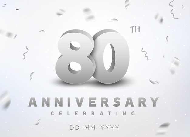 80 years silver number anniversary celebration event. anniversary banner ceremony design for 80 age.