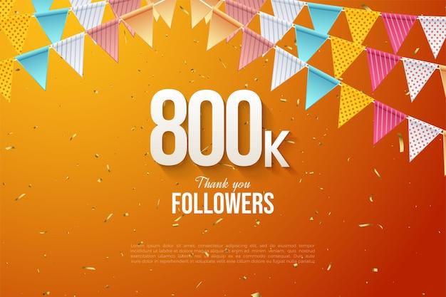 800k подписчиков с плоским дизайном