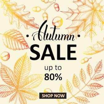 秋のセールのバナー。レタリング。スケッチ。手描き落書きの葉。彫刻イラスト。最大80%、今すぐ買い物。