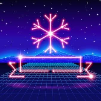 80年代のネオンスノーフレークとリボン付きのクリスマスカード