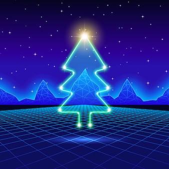 80年代のネオンツリーのクリスマスカード