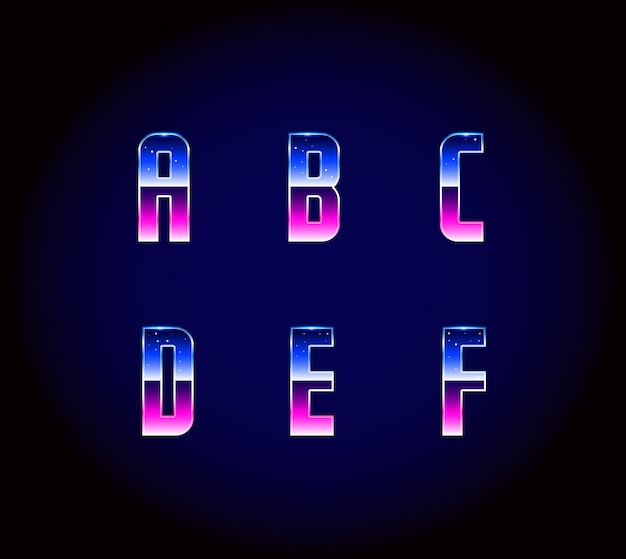 80-х годов ретро футуризм научно-фантастический шрифт алфавит вектор