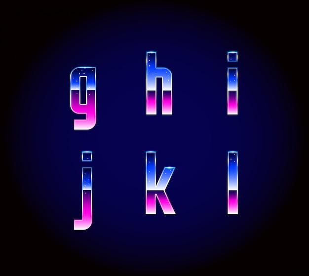 80年代レトロな未来派サイエンスフィクションフォントアルファベットベクトル