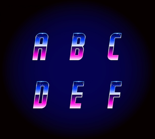 80-х годов ретро футуризм научно-фантастический шрифт алфавит