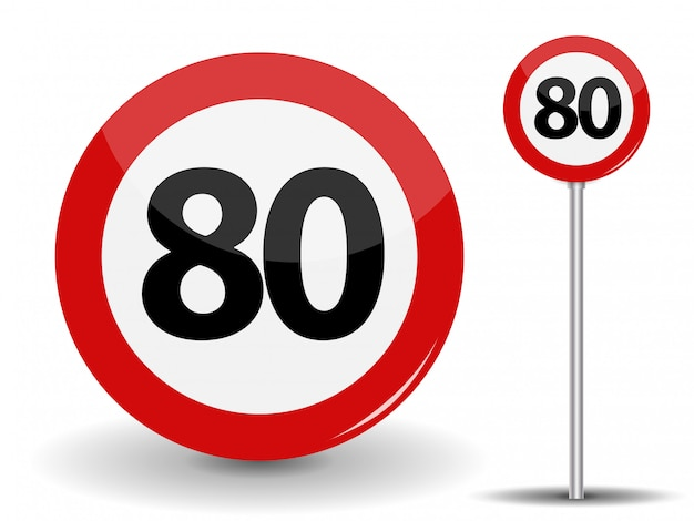 Круглый красный дорожный знак ограничение скорости 80 километров в час. иллюстрация.