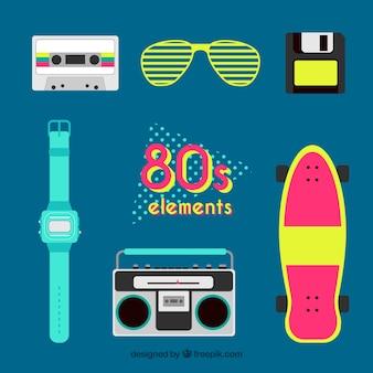 フラットなデザインの80年代の要素のコレクション