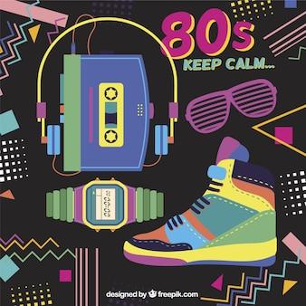 80年代オブジェクトとメンフィスの背景