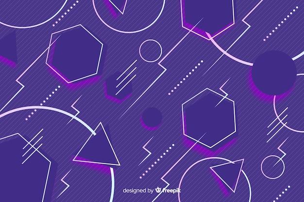 80年代のカラフルな背景の幾何学的なスタイル