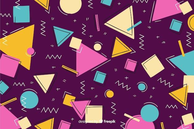 80年代のレトロなスタイルの幾何学的な背景デザイン