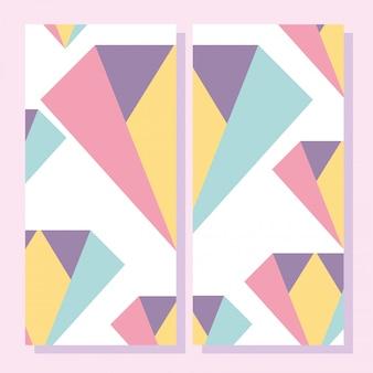 抽象的な形、80年代メンフィスの幾何学的なスタイルのプラカード、パンフレット